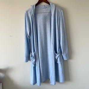 Aerie size medium baby blue long cardigan with hood